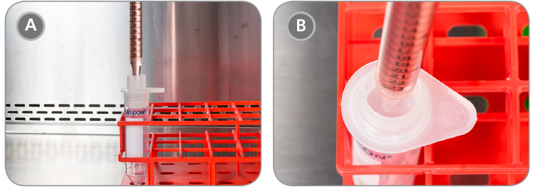 Placement of the serological pipette containing pre-treated aggregates.