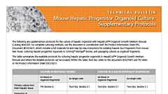 Mouse Hepatic Progenitor Organoid Culture: Supplementary Protocols