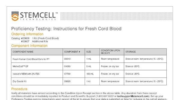 Fresh Cord Blood Worksheet