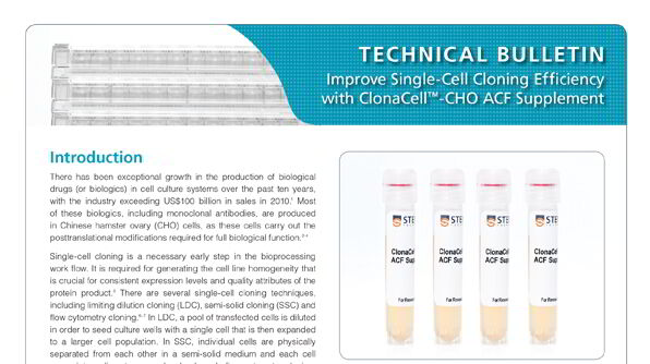 ClonaCell™-CHO ACF Supplement for Robust Growth of CHO Cells at Low Cell Density
