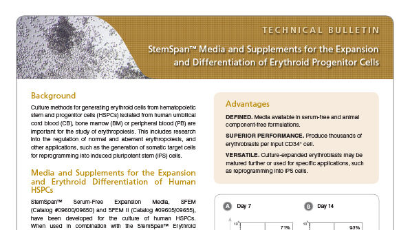 StemSpan™ Media and Supplements for the Expansion and Differentiation of Erythroid Progenitor Cells