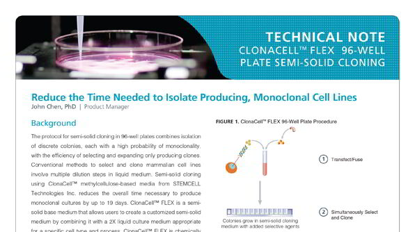 Protocol for Producing Monoclonal Cell Lines Using ClonaCell™ FLEX Semi-Solid Medium