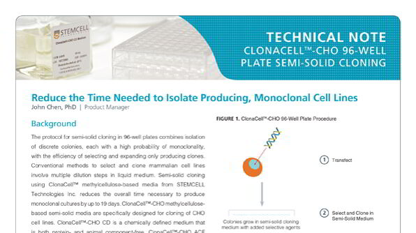Protocol for Cloning CHO Cell Lines Using ClonaCell™-CHO Semi-Solid Medium