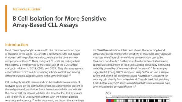 B Cell Isolation for More Sensitive Array-Based CLL Assays
