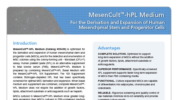 MesenCult™-hPL Medium For the Derivation and Expansion of Human Mesenchymal Stem and Progenitor Cells