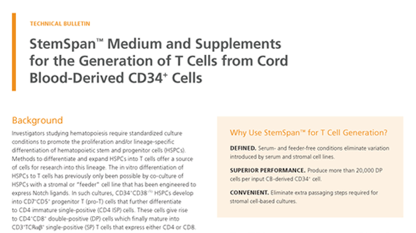 StemSpan™ Medium and Supplements for the Generation of T Cells from Cord Blood-Derived CD34+ Cells