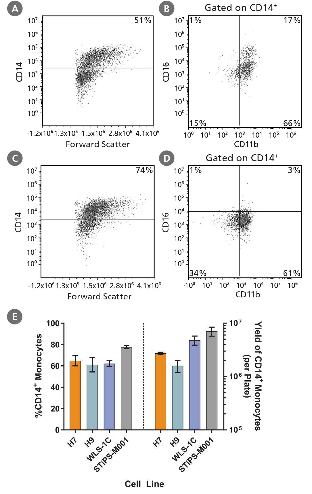 hPSC-Derived CD14+ Monocyte Characterization, Frequency and Yield