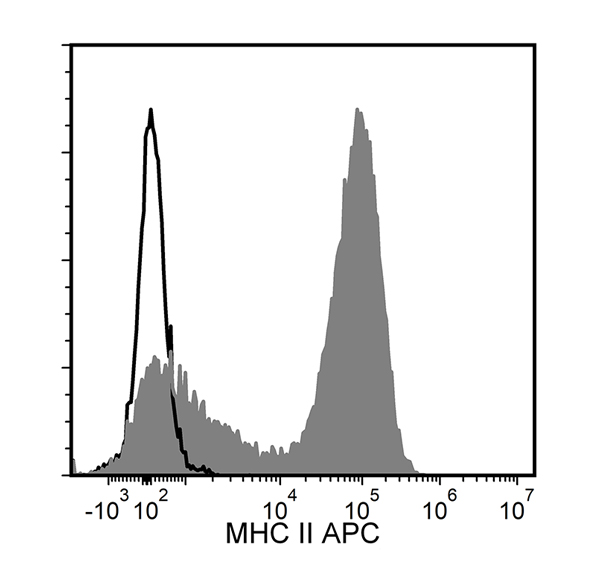 Figure showing flow cytometry analysis of C57BL/6 mouse splenocytes labeled with Anti-Mouse MHC II Antibody, Clone M5/114.15.2, APC or a rat IgG2b, kappa APC isotype control antibody.