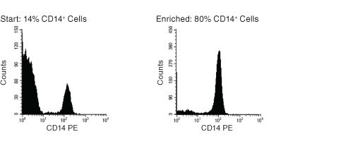 FACS Histogram Results Using EasySep™ Human Monocyte Enrichment Kit Without CD16 Depletion