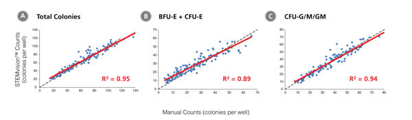 STEMvision™ Automated Scoring of Total, Erythroid (BFU-E + CFU-E) and Myeloid (CFU-G/M/GM) Colonies Is Highly Correlated to Manual Counts of 14-Day BM CFU Assays